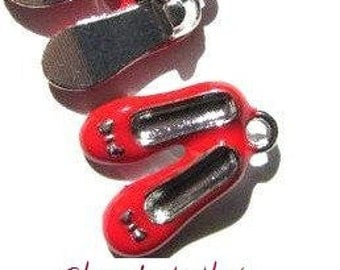 5 pcs Enamel Charm Pendant RUBY RED SLIPPERS
