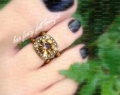 Toe Ring - Citrine Gem Slider - Copper - Stretch Bead Toe Ring