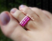 Stacking Toe Ring, Stacking Rings, Pink Beads, Pink Seed Beads, Pattern Design, Toe Ring, Ring, Stretch Bead Toe Ring