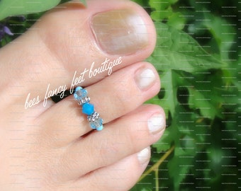 Toe Ring - Aquamarine - Austrian Crystals - Stretch Bead Toe Ring