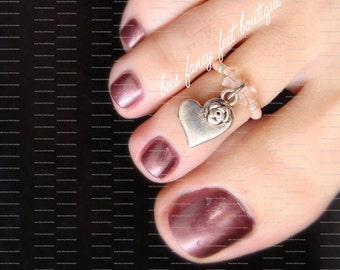 Toe Ring - Heart Rose Charm - Pink Rose Crystals - Stretch Bead Toe Ring