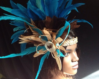 Feather and paore flower headband