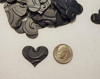 200 embossed black confetti hearts