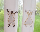 White Clergy Stole - Praise Dancers in White Silk.  Church pastors in multicultural ministry will love this liturgical art.