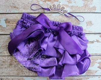 Purple Bloomer & Headband  Set- Purple Diaper Cover- First Birthday Outfit- Newborn Outfit- Cake Smash Outfit- Crown Headband- Photo Prop
