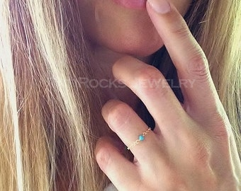 Have to Have 14k Solid Gold Ring, Turquoise Ring, Chain Ring, Stacking Ring, Minimal Jewelry