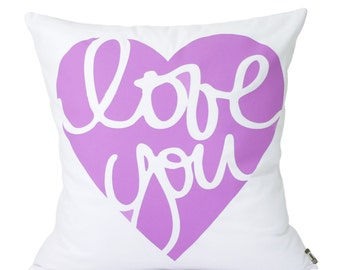 "Love You  Pillow Cover // 16""x16"" Silk Screen Purple Pillow Cover"