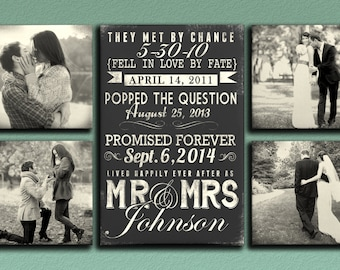 Love Dates - Typography Wedding and Engagement Canvas Cluster