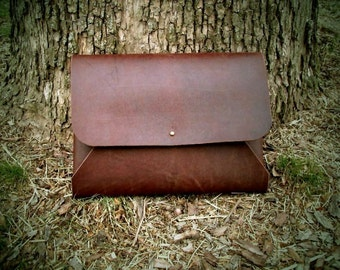 Leather  Portfolio/ Envelope document case with Button Stud Closure. .  One Piece Full Grain Leather Handmade in USA.
