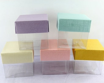 """Pastel 50 Square 3"""" Favor Box Gift Box Wedding Party Favor Bridal Baby Shower"""