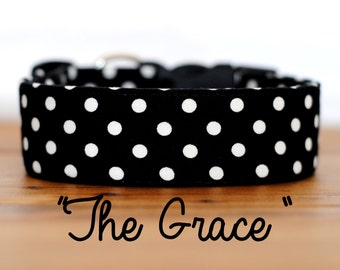 "Classic Black & White Polka Dot Dog Collar ""The Grace"""