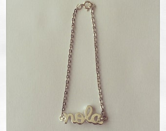 "Silver Plated ""NOLA"" Charm Bracelet, with 1.8mm Flat Oval Cable Chain"