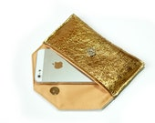 Leather iPhone 5 case two tone of Gold, Leather Wallet , iPhone  Wallet