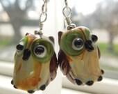 Handmade Lampwork Glass Owl Earrings Green, Tan and Brown  Sterling Silver Hooks
