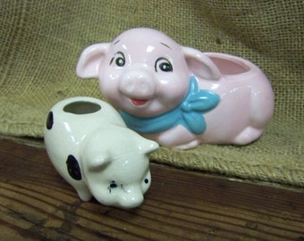 Two Little Pigs Pig Planter Pig Toothpick Holder