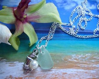 Island Goddess Maui Sea Glass Necklace .925 Sterling Silver Chain