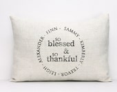 "personalized pillow, thanksgiving pillow, thankful pillow, family name pillow, name pillow, christmas gift ""The Thankful"""