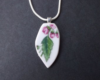 Pink Flowers Broken China Necklace - Handmade Pink Flowers with Leaves recycled broken plate OOAK -- Pendant