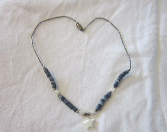 Vintage Blue Polished Stone  Necklace & Mother of Pearl Star Pendant