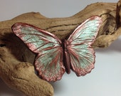 Cetonia Designs Cethosia Butterfly Hair Clip- Two-Tone Pink and Green Finish