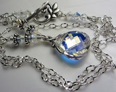 Reserved for acostanancy1 Aurora Borealis Crystal Necklace Clear AB Swarovski Crystal Drop Pendant Necklace Silver Blend Of Rainbow Colors