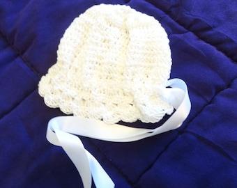 christening baptism hat  crochet Egyptian cotton fits 6 months