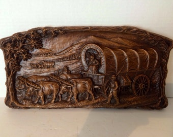 Vintage Syroco Wood Pioneer Wagon Large Old Western Wall Hanging