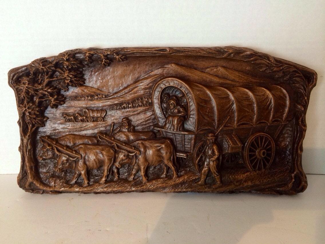 Vintage Syroco Wood Pioneer Wagon Large Old Western Wall