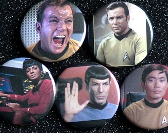 STAR TREK buttons - Five buttons - 2 Captain Kirk, Spock, Sulu, and Uhura
