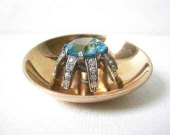 Vintage Mazer Concave Round Vermeil Sterling Silver Brooch Set With Large Aqua Glass Stone