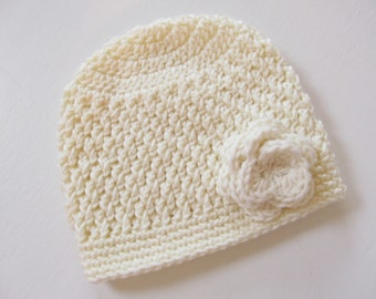 Baptism Hat, Christening, Baby Girl Hat, Crochet Hat with Flower, Ivory Baby Hat with Flower,  COLOR of your CHOICE
