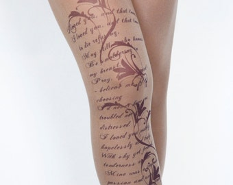 Printed Tights With Text and Flowers , Print tattoo Leggings , Unique Design  Pantyhose