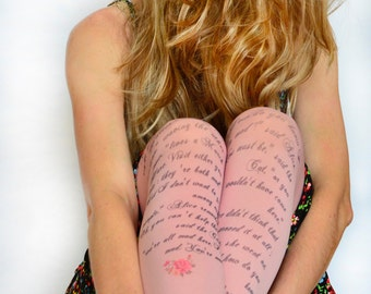 Alice in Wonderland Printed Tights , Design Tights With Text , Literature Fashion Tights