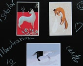 Wolf, Fox and Unicorn / 3 postcards