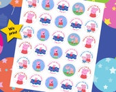 30 ct personalized Peppa Pig stickers labels great for cupcake toppers tags decoration scrapbooking