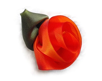 Brilliant Orange Silk Flower Pin with Leaves.