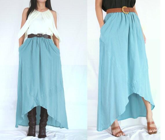 light blue high low skirt summer skirt by idea2wear