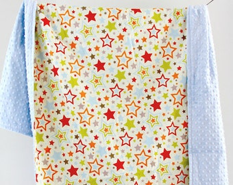SALE Extra Large Youth Blanket, Colorful Stars with Dusty Blue Minky Dot, Ready to Ship