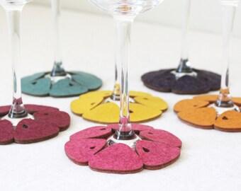 Stemware Coasters set of 6 Mandarin Zesty