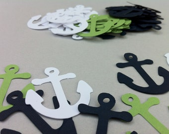 45 Large Nautical Navy Blue, Lime Green and White Anchors Confetti Party Decor