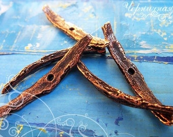 """Findings for making jewelry Bronze pendant """"Cinnamon"""" 1526(1). One hole, curve, twist, nature, tree, charm"""