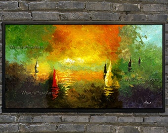 original oil painting,seascape sunrise painting,sailing boats painting,palette knife painting by Enxu.Zhou,framed,ready to hang,huge 40''