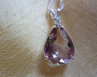 Natural Pear Bolivian Ametrine Accented Pendant