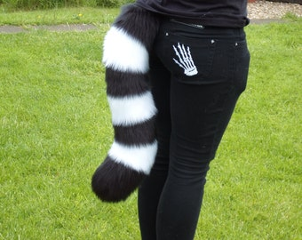 """NEW DESIGN 23"""" Luxury Chunky Thick Stripe Cat Tail In Black and White Cute Cosplay Fursuit"""