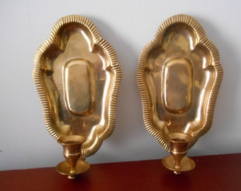 Vintage Brass Taper Candle Sconces,Brass Sconces,Sconce Pair Vintage Lighting Chinoiserie Hollywood Regency Sconces