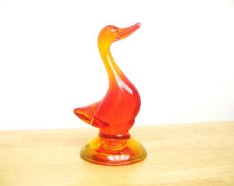Vintage Viking Glass Orange Duck, 5 Inch