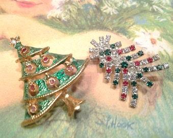 christmas tree vintage costume jewelry christmas brooch pin enamel lot