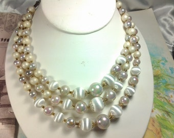 vintage costume jewelry necklace pearl