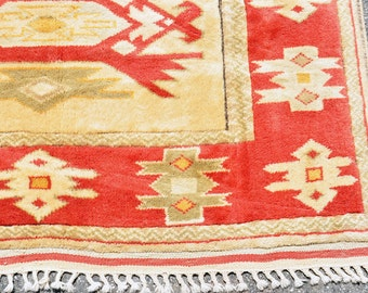 SALE! -- Turkish Gold & Red Rug -- 6 ft. 7 in. by 4 ft. 8 in.