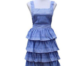 New Beautiful Handmade full apron dress  for kitchen aprons  fashion blue Accessories